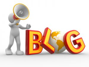 "3d people - human character , person with a megaphone and word ""Blog"". The concept of communication. 3d render"